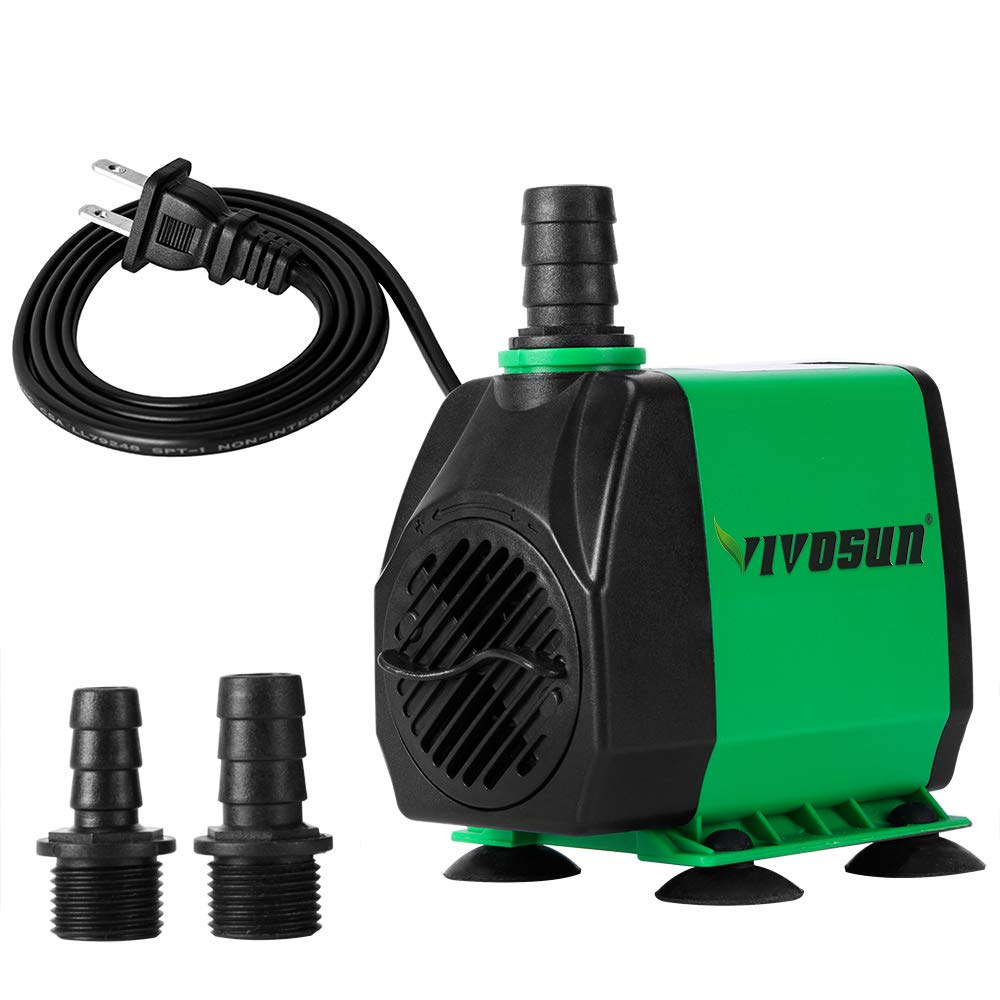 VIVOSUN 800GPH Submersible Pump(3000L/H, 24W), Ultra Quiet Water Pump with 10ft High Lift, Fountain Pump with 5ft Power Cord, 3 Nozzles for Fish Tank, Pond, Aquarium, Statuary, Hydroponics by VIVOSUN (Image #2)