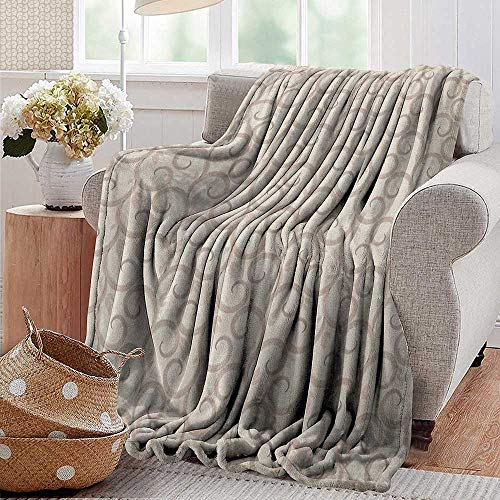 XavieraDoherty Cool Blanket,Beige,Swirling Leaves Motifs Regular Curved Baroque Floral Design Retro Old World in Mod Art, Beige,for Bed & Couch Sofa Easy Care 50