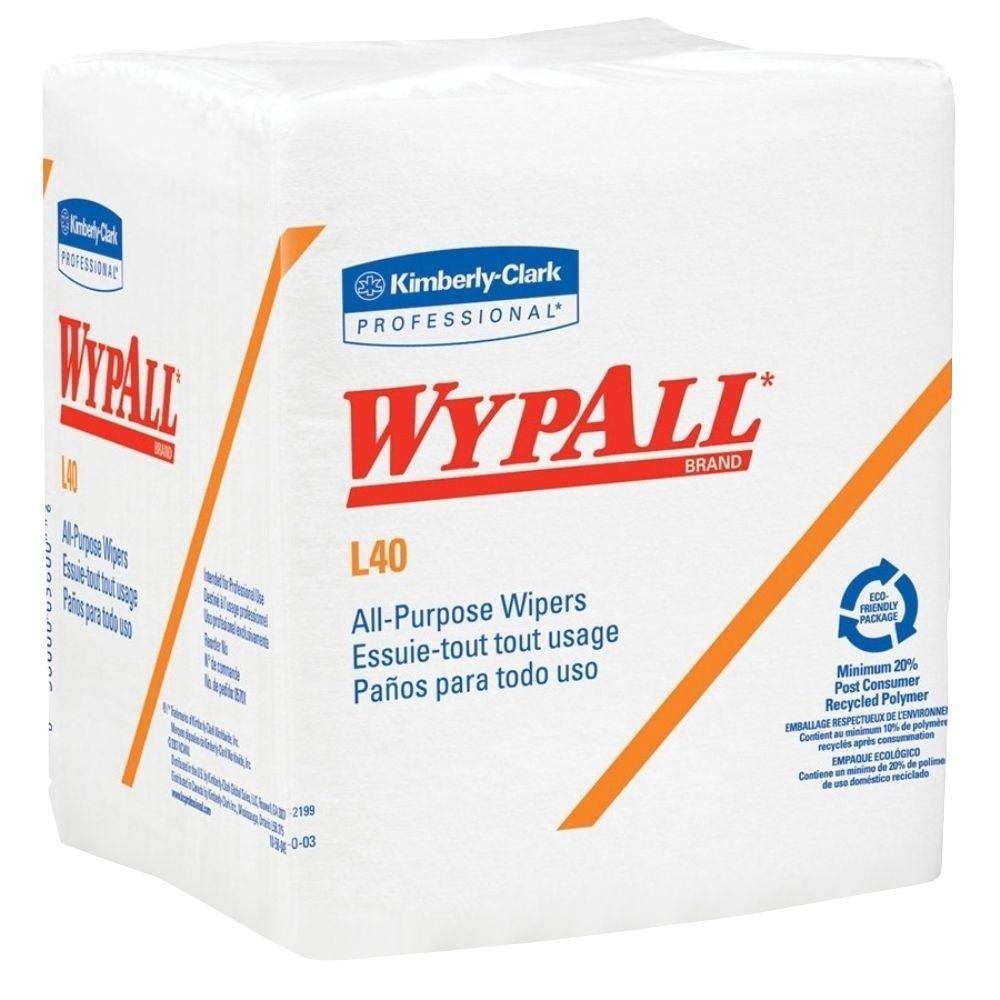Wypall L40 1/4-Fold White Wipes, 12.5'' X 13'', 56 Wipes Pack,18 Pks/Case