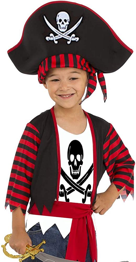 3 Piece Pirate Costume Set Sword Cutlass Eyepatch Earring Fancy Dress Children