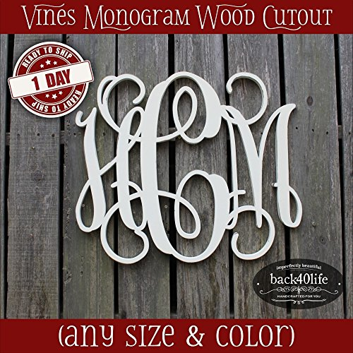 8-36 inch Vine Monogram Wood Letters Cutout Unfinished DIY or Painted Initial Decor Nursery Wooden - Usps Time Delivery Priority
