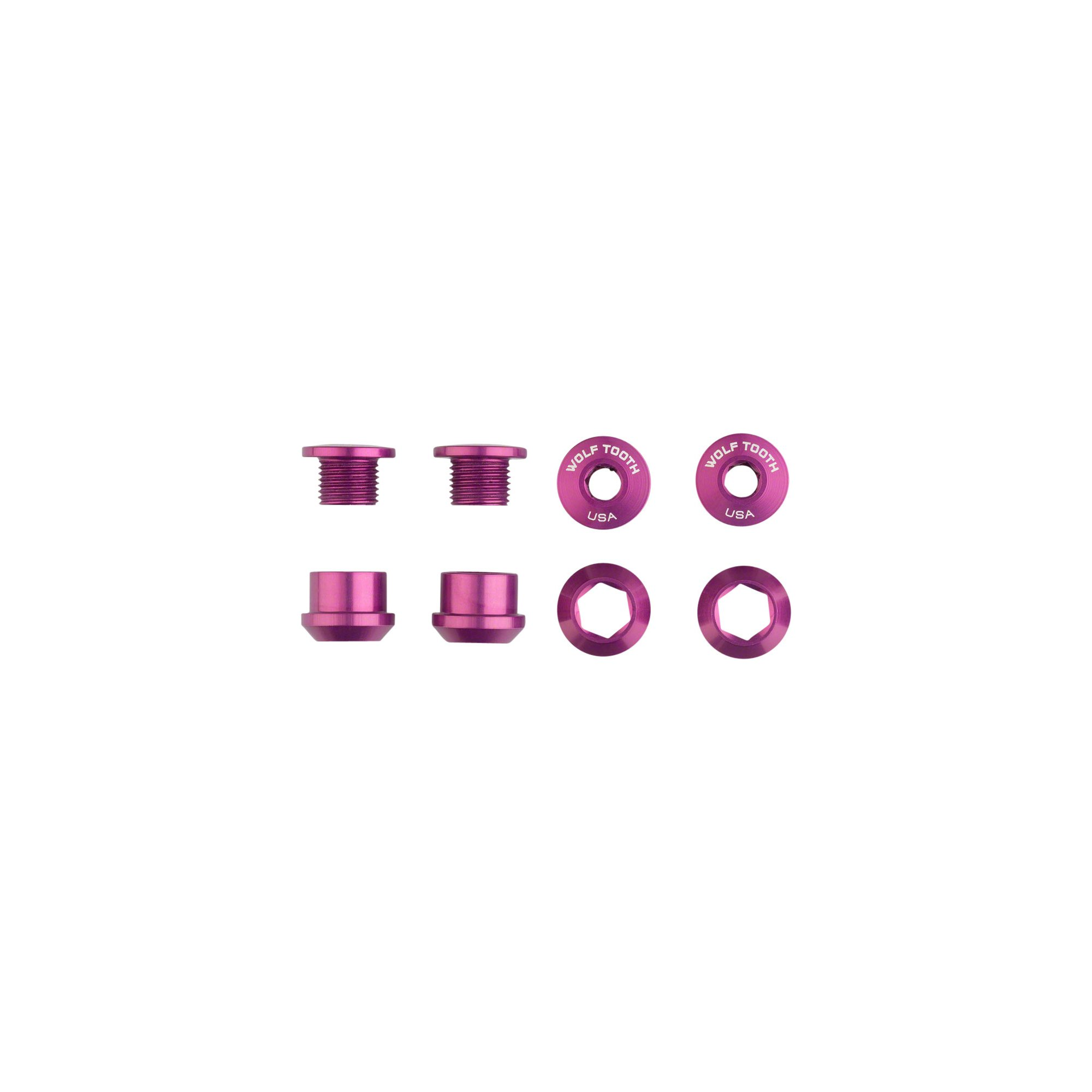 Wolf Tooth Components 1x 6mm Chainring Bolt: Purple Set of 4 Dual Hex Fittings by Wolf Tooth Components
