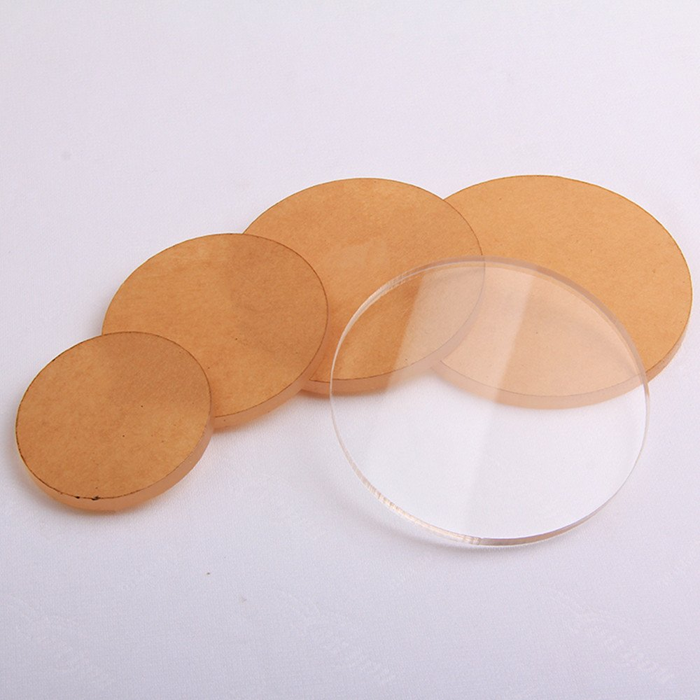 4PCS Clear Round Acrylic Sheet ,Transparent Plexiglass Discs Circle For Light Clay Hand Base, Cartoon Dolls Model Display Stand (Round) (Round) MEYA
