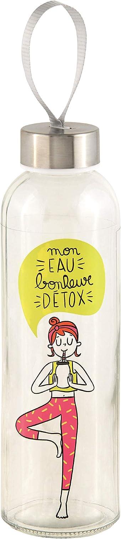 Bouteille en Verre Mon Eau Bonheur Detox DLP Environ 500ml