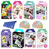 Fujifilm Instax Mini Film 8 Pack Bundle! Rainbow, Candy Pop, Stained Glass, Shiny Star, Disney Alice, Comic, Airmail, Stripe 10 X 8 = 80 Sheets Assort Set + withC Microfiber Cleaning Cloth for Camera Lenses
