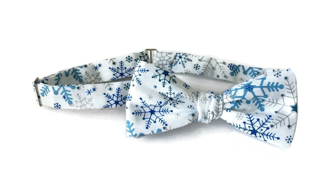 Men's Bow Tie Pre-tied White with Royal Blue & Silver Snowflakes (Boys)