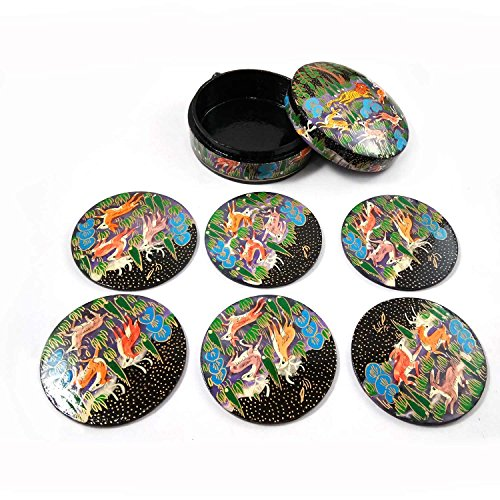 Hand Painted Authentic Kashmiri Paper Mache Craft Decorative 6 Tea Coaster Set with Trinket Box Use for Serving Tea, Coffee, Water or Use in Kitchen, Home & Office Decoration Best -