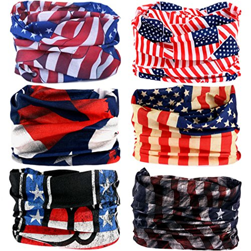 VANCROWN Headwear Head Wrap Sport Headband Sweatband 220 Patterns 12 in 1 Magic Scarf 12PCS & 6PCS 12 in 1 (6PCS.The Stars and Stripes)