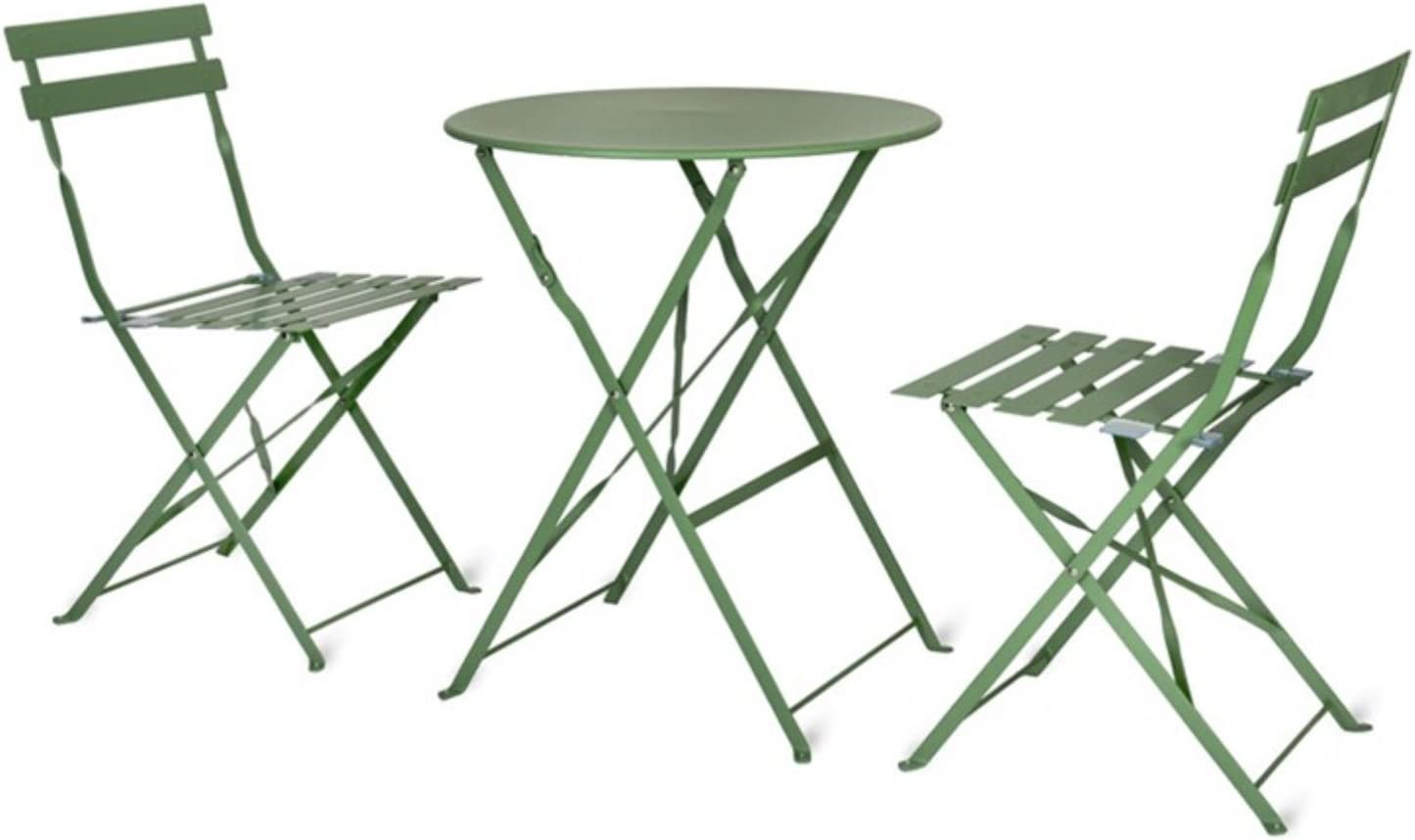 CKB LTD Garden Bistro Set Metal Outdoor - GREEN - Deluxe Weatherproof 10  Piece Garden Furniture Table And Folding Chairs For Small Patio or Balcony