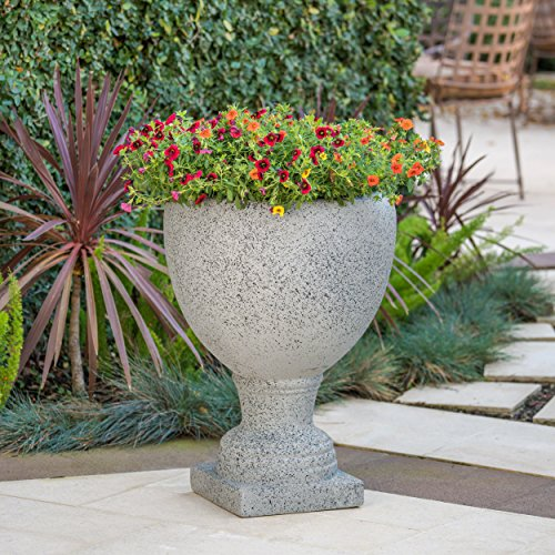 Great Deal Furniture Shiny Outdoor Light Grey Stone Finished Cast Stone (Urn Stone Planter)