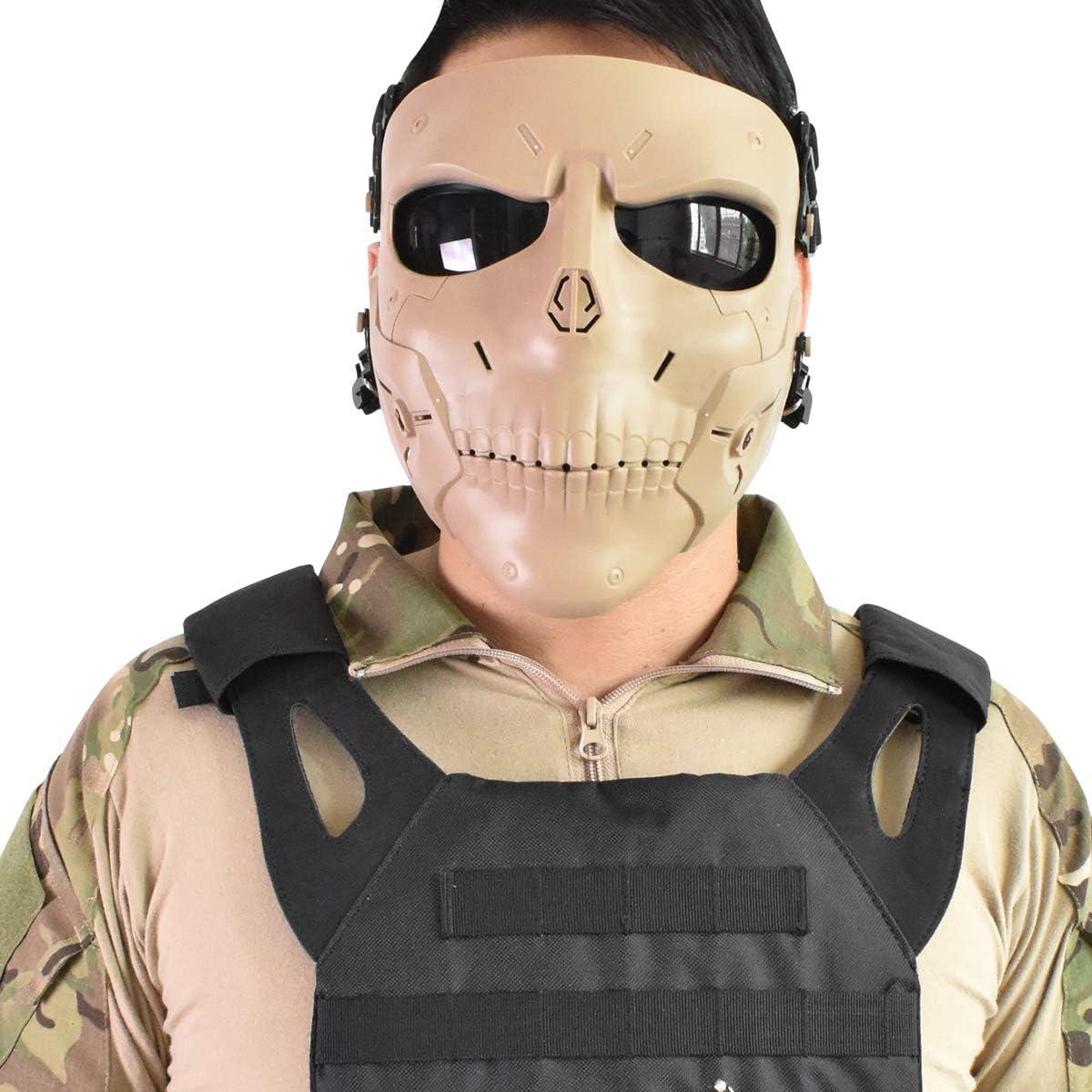 Wwman Paintball Airsoft Máscara, máscara CS táctica sólida de protección Completa para la Cara Completa con Lentes