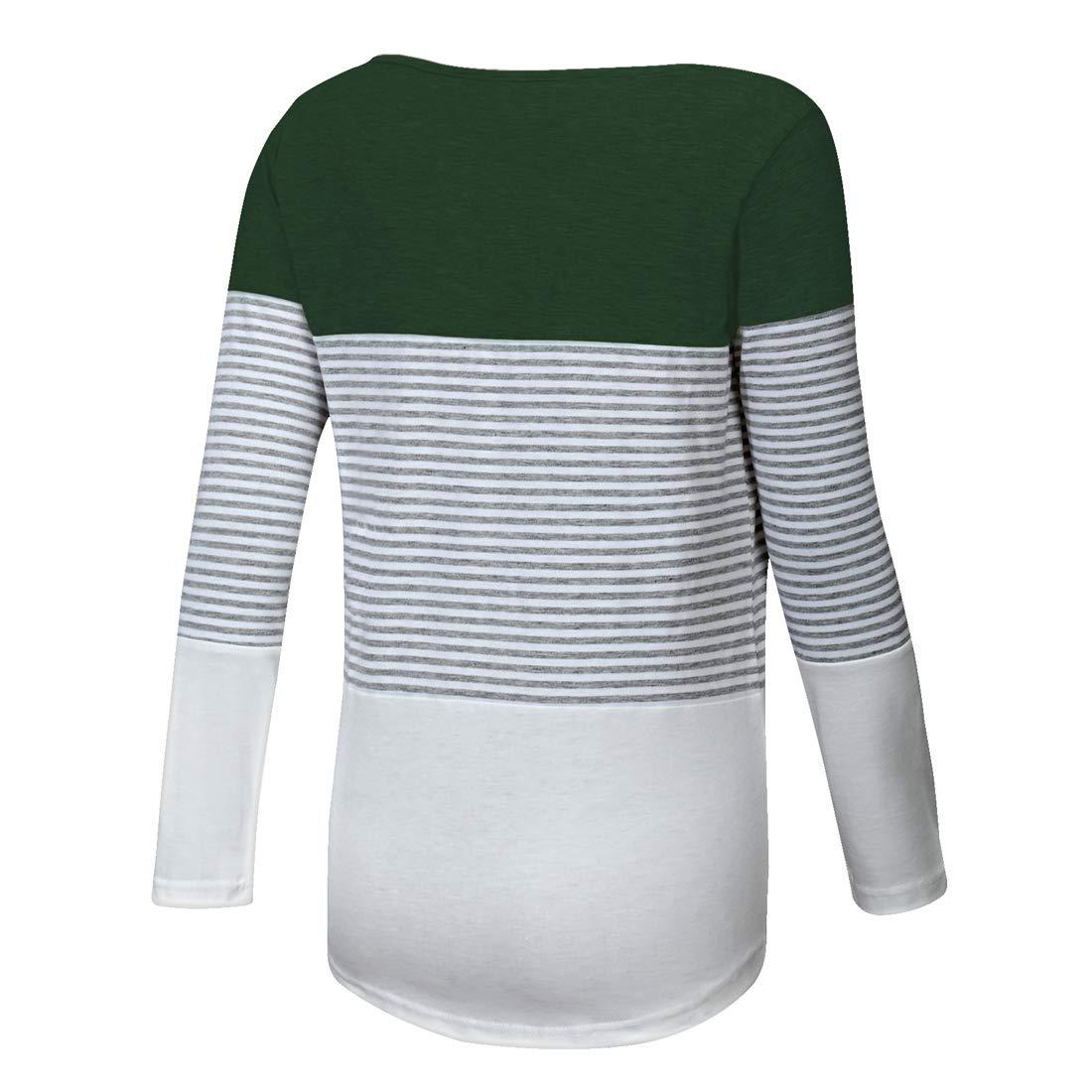 Gititlys Womens Striped Long Sleeve T-Shirts for Women Round Neck Loose T-Shirt(S-2XL) (M, A-Green)
