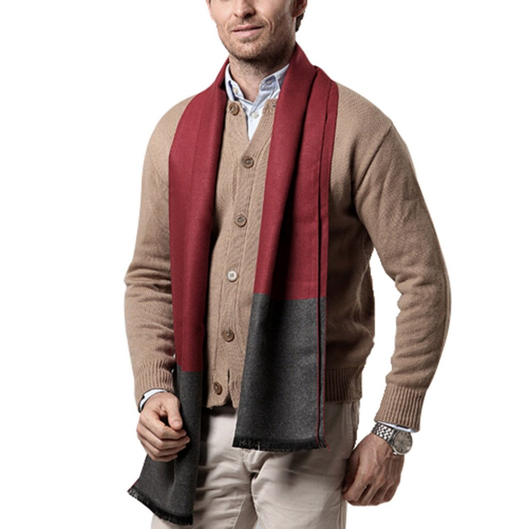 Warm Waps for Business Man Thick Casual Cashmere Scarves for men - Gray/Red Panegy