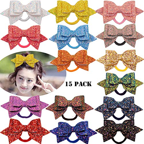 (15Pcs Baby Girls Bow Hair Ties 5 Inch Glitter Hair Bows Ponytail Holder Elastic Hair Bands for Girls Toddlers Kids Teens)