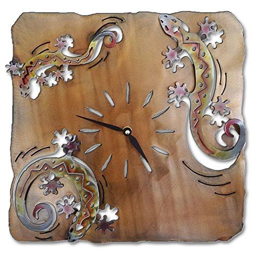 Southwest Clock - Geckos - 13-inch - Sunset Swirl