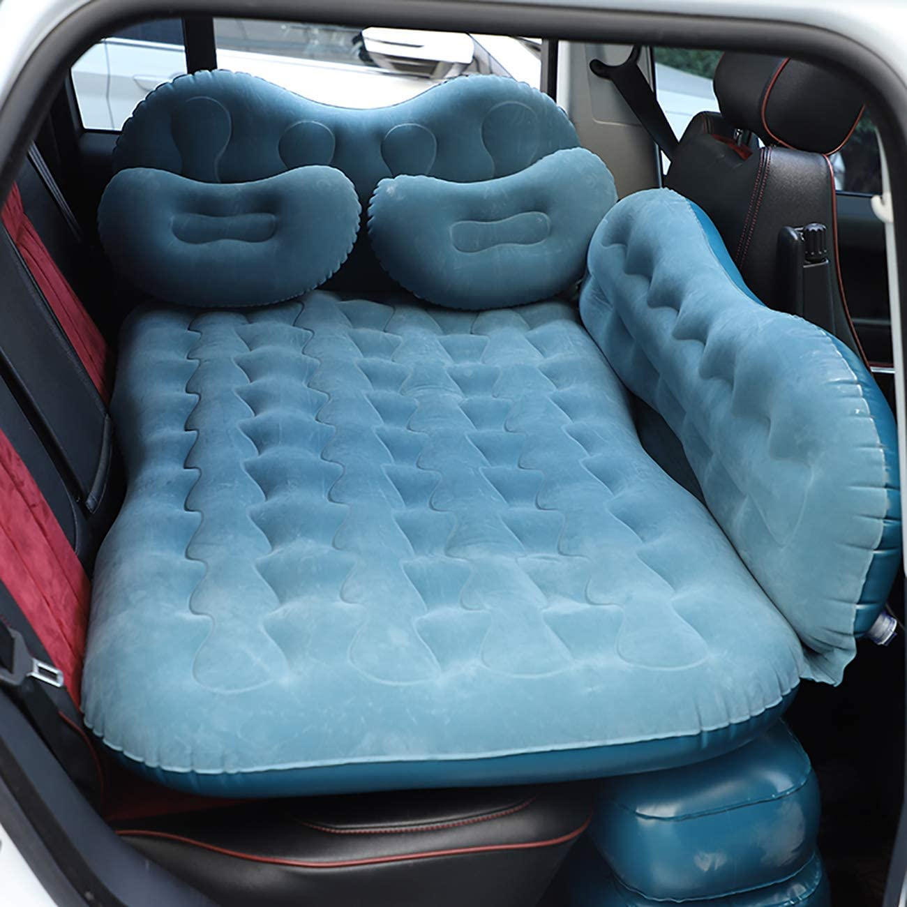 Portable Car Bed fits Car -Camping Inflation Bed Travel Air Bed Car Back Seat-Blow Up Air Mattress CALOER Thick Inflatable Car Air Mattress with Pocket,Headboard,Pillows and Air Pump SUV Truck