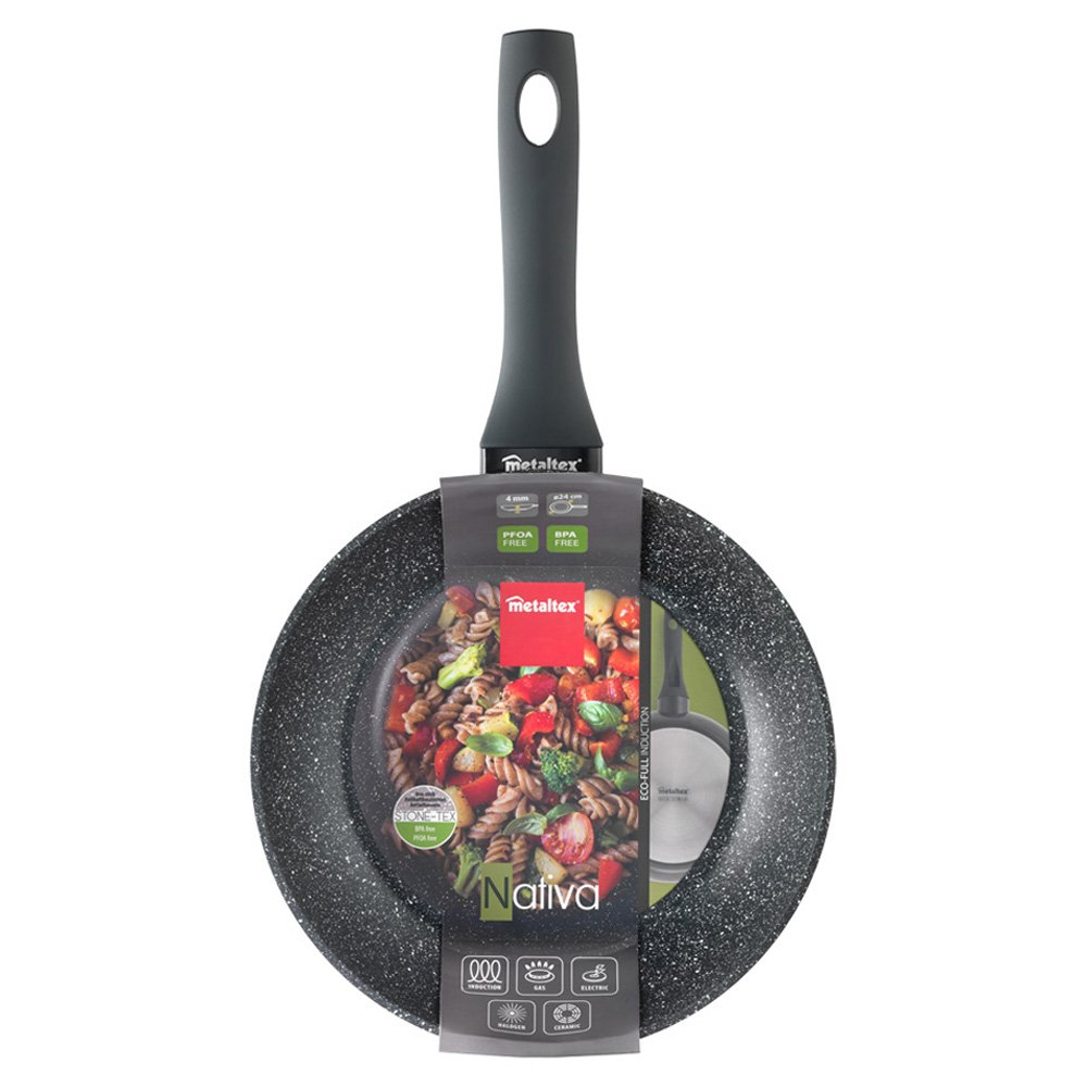 Metaltex NATIVA - Sartén Aluminio Forjado, 24 cm, antiadherente Stone-Tex, Full Induction válido para todo tipo de cocinas: Amazon.es: Hogar