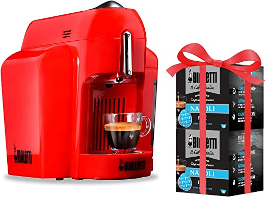 Bialetti - Mini cafetera expreso de aluminio, sistema de café de Italia, rojo + 32 cápsulas de regalo, 1200 W, rojo: Amazon.es: Hogar