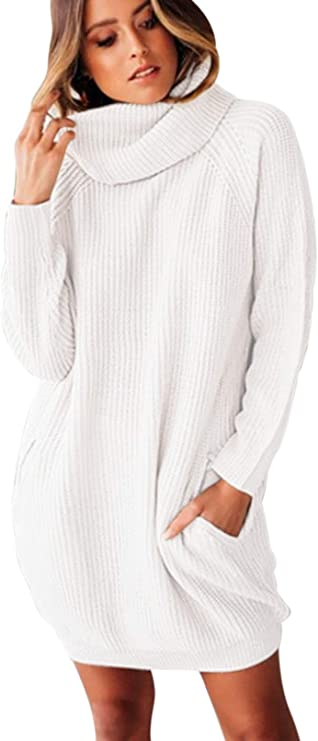 Sovoyontee Women's Long Sleeve Baggy Oversized Turtleneck Pullover Sweater Dress with Pockets