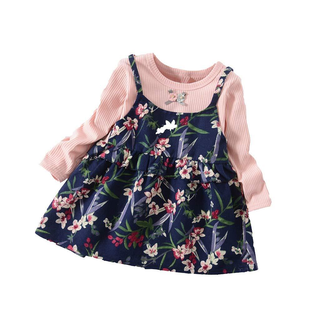Girls Tutu Dresses Infant Baby Kids Shirt Long Sleeve Print Party Tops Princess Clothes (3T, Pink)
