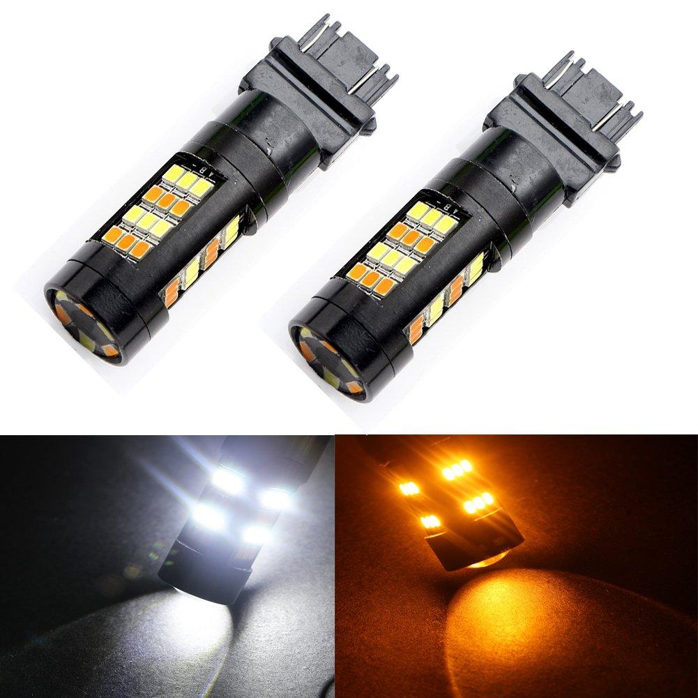 Pack of 2 Grandview 420 Lumens 3157 3057 3157A 3357A 2825 42 SMD Amber//White Switchback Turn Signal LED Light Bulbs 12V LED Super Bright 6000-6500K Brake Light