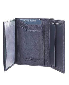 Miguel Bellido Billetero Tarjetero Piel con Monedero Azul 11cm 0.06Kg: Amazon.es: Equipaje