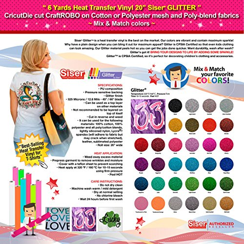 GERCUTTER Store - 6 Yards Siser GLITTER Heat Transfer Vinyl 20'' - CricutDie cut CraftROBO on Cotton or Polyester mesh and Poly-blend fabrics (Mix & Match colors) by GERCUTTER USA