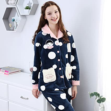 Pijama de terciopelo de coral para mujer caída abrigado Se puede usar por fuera trajes de