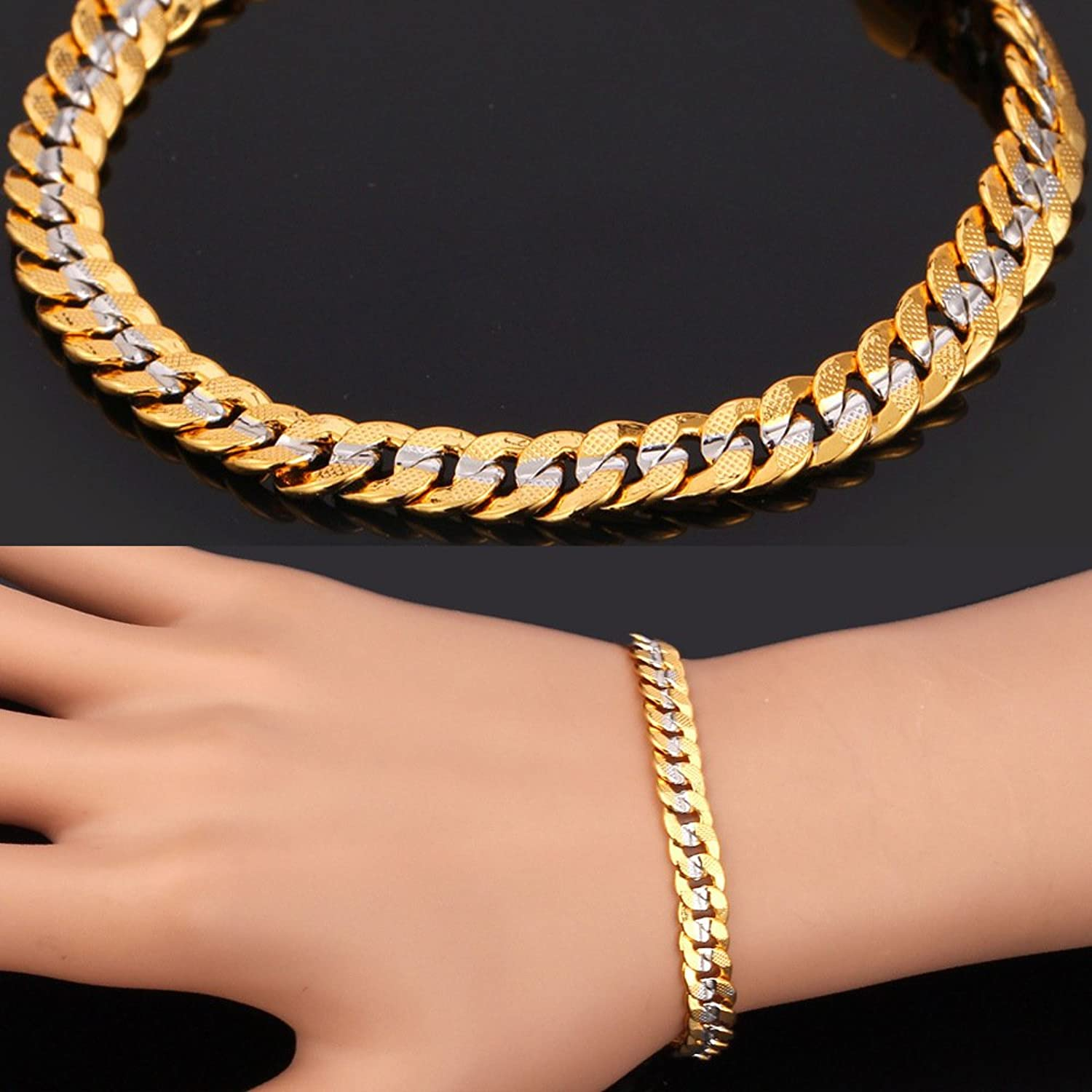 Men Two-Tone Gold Chain Platinum & 18K Gold Plated Cuban Curb ...