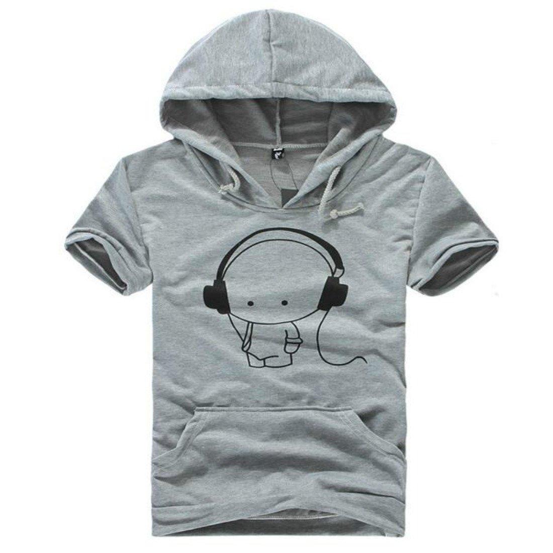 Colygamala Mens Summer Headphones Music Printed Tees Hoodie T-Shirt Black//Grey//White