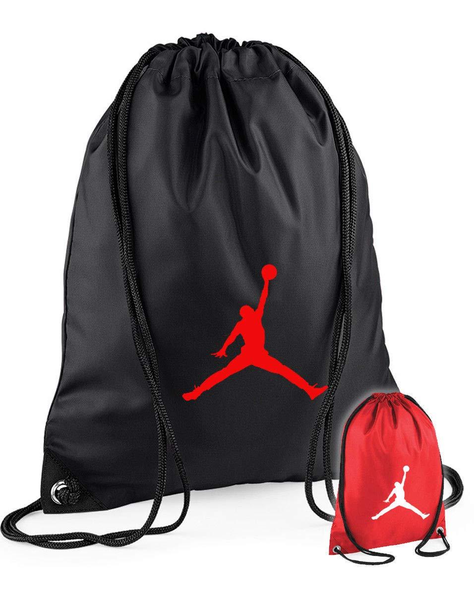 Sacca zaino nero o rosso con stampa JORDAN con lacci palestra allenamento scuola (NERO)