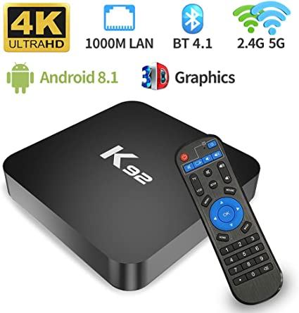 Android TV Box Android 8.1 TV Box 4GB RAM 32ROM Amlogic S905X2 Quad Core Bluetooth 4.1 Dual Band WiFi 2.4G/5G 1000M LAN Ethernet 4K 3D Full HD H.265 USB 3.0 Smart TV
