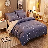 Hxiang 3-Pieces Big dipper blue Starry sky Duvet Cover Sets boys Bedding Sets 1 Duvet Cover+2 Pillowcases (Twin, blue)