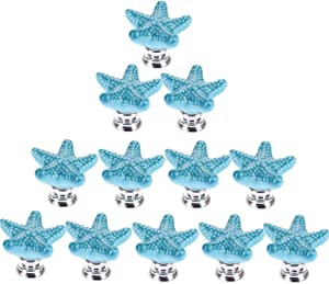 RuiyiF 12 Pack Starfish Knobs for Cabinets, Ceramic Dresser Knobs Hardware Handle Pulls (Blue)
