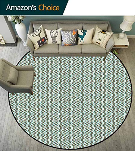 - Retro Round Rug with Fringe,Abstract Style Simplistic Oval Shapes Repeating on Turquoise Background Non Slip Absorbent,Turquoise Brown Ivory,D-55