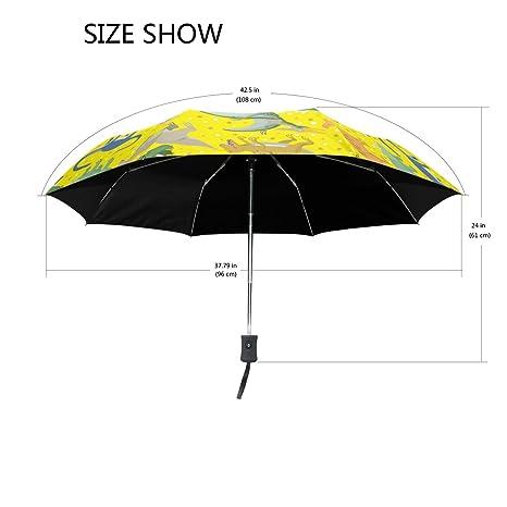MAPOLO Cute Dinosaur Pattern Windproof Travel Rain Umbrella Golf Canopy Auto Button Tri-folded Umbrella