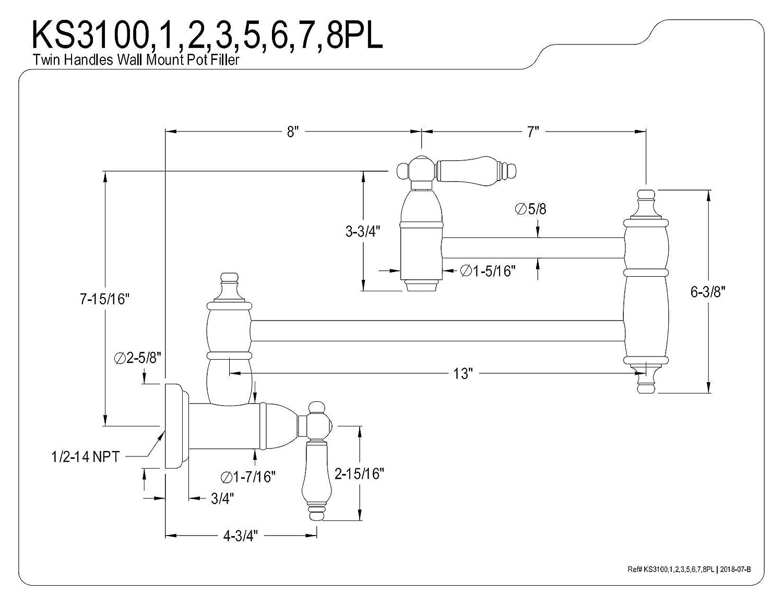 Kingston Brass KS3105PL Restoration Wall Mount Pot Filler Faucet 13 Length Oil Rubbed Bronze
