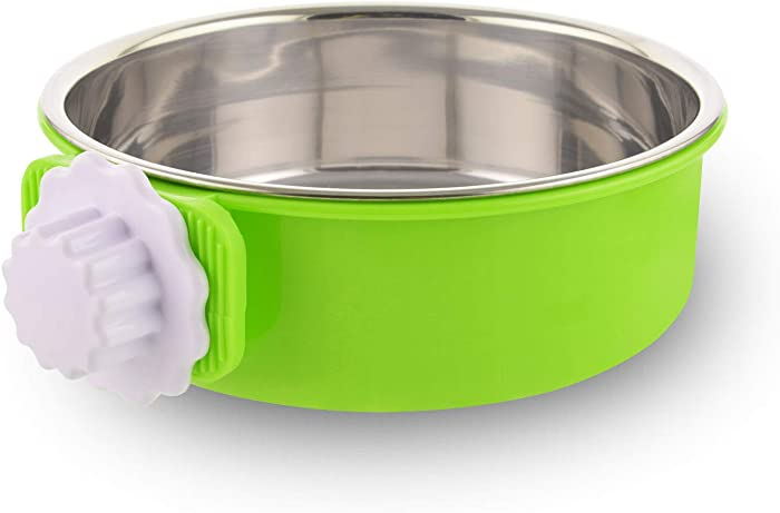 Crate Dog Bowl Removable Stainless Steel Water Food Feeder Bowls Cage Coop Cup for Cat Puppy Bird Pets (Large, Green)