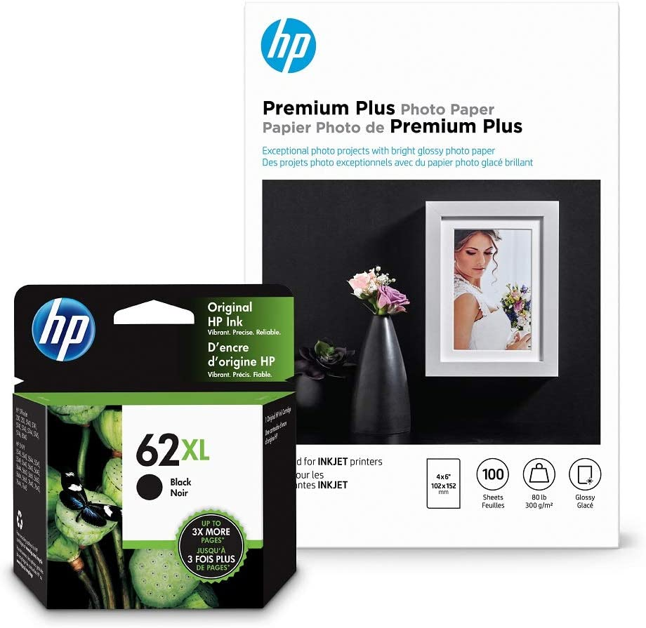HP 62XL Black Ink + HP Premium Plus Photo Paper, Glossy, 100 Sheets, 4x6