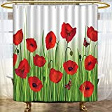 Mikihome Shower Curtains Fabric Poppy Grass Butter ating Park Greenland Bathroom Decor Set