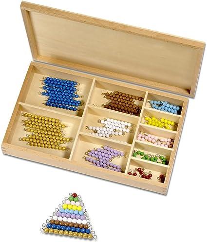 montessori Perle material, colores 1 de 10, 101 de piezas en caja de madera: Amazon.es: Oficina y papelería