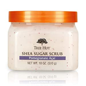 Tree Hut Shea Sugar Scrub Pomegranate Acai, 18oz, Ultra Hydrating and Exfoliating Scrub for Nourishing Essential Body Care