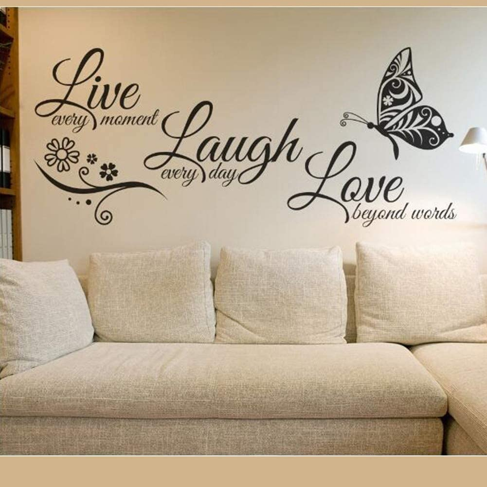 MAKLYER Live Every Moment, Laugh Every Day, Love Silent Wall Stickers, Family Inspirational Wall Stickers, Suitable for Baby Room, Living Room, Art Home Decoration Size 22.8