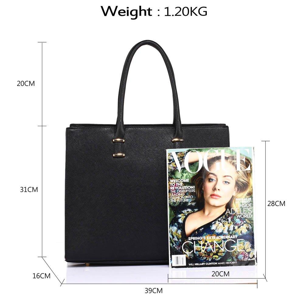 f17ac8d19835b Ladies Black Leather Handbag New Tote Designer Style Celebrity Office  Elegant Design Shoulder Bag  Amazon.co.uk  Shoes   Bags