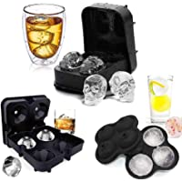 Arkmiido 3 Pack Flexible Silicone Ice Cube Tray Ice Ball Maker For Whiskey 3D Diamond Ball Skull Ice Cube Mold Set For…