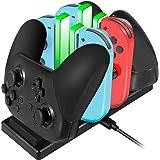 EXTSUD Stazione Ricarica per Nintendo Switch Joy-con e PRO Controller 6 in 1 Base Caricatore Nintendo Switch Controller con 4 Slots per Joy-con e Type-C USB Porta per Switch Console/Controller PRO