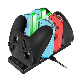 EXTSUD 6 in 1 Nintendo Switch Controller Ladestation Pro Controller Ladegrät mit 4 Slots für Joy-Con und Typ-C USB Port für S