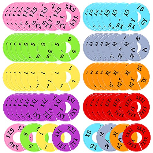 Caydo 80 Pieces 8 Colors Clothing Size Dividers, Size Series XXS to XXXL by Caydo