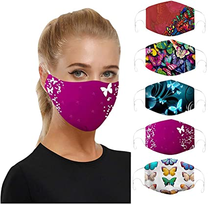 Minaxgy 5pcs Adult Face Bandanas Anti-dust Face Protection Unisex Fashion Colorful Cotton Reusable Face Bandanas for Men and Women