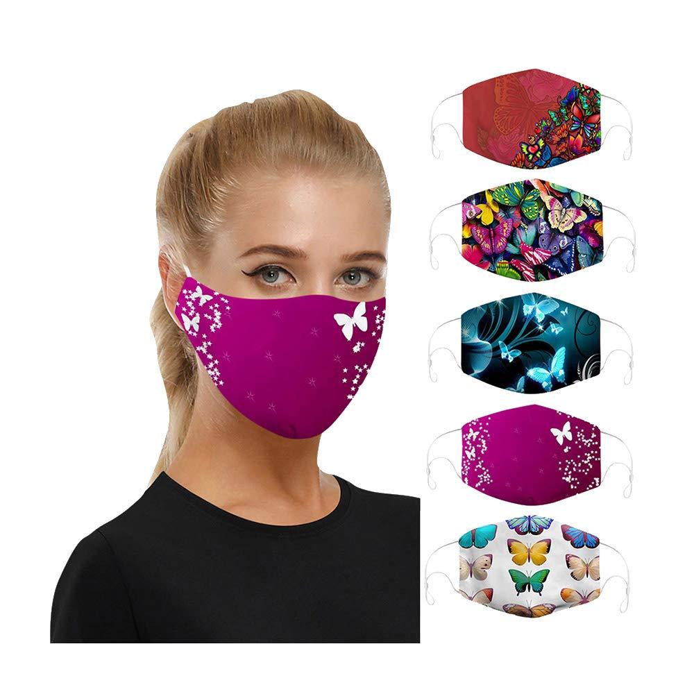 5PCS Bandana Face Dust Reusable Washable Cloth Protection Fabric Elastic Scarf